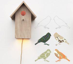 muurdecoratie hout ideeen vogelhuis lampje
